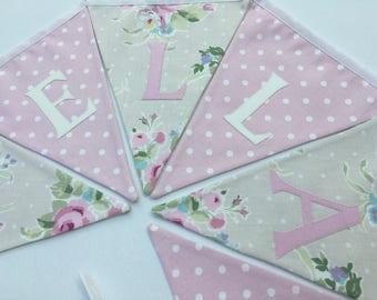 Personalised Bunting, Personalized Name Banner, Beige Floral, Pink Polks Dot- Please select amount of flags
