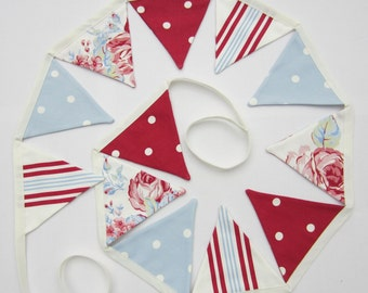 Mini Bunting, Red White and Blue, Cottage Chic Mini Bunting, Flag Garland, Mini Pennant Banner, Dots and Stripes, Various Sizes