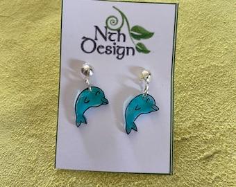 Handmade Clear Dolphin Earrings