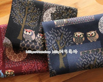 m357_55 - owl fabrics  - cotton linen - Japanese Kimono Owls in Half Yard (  3 colors )