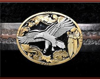 Or   noir émaillé aigle étain boucle de ceinture s adapte jusqu à 1 3 4
