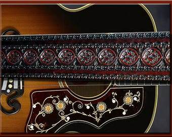 MULTI SUNRISE Design A Beautifully Hand Tooled and Crafted Leather Guitar St