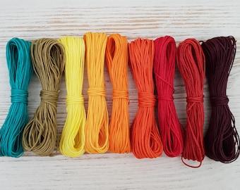 Bracelet Thread Jewelry Cord macrame Cord 0.8mmFlat Braid Metallic Waxed Polyester Cord 5 color set Friendship Bracelet String