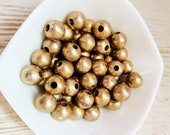 9mm Brass Beads, ball beads, large spacer beads, seamless, india brass, ethnic beads, beads for macrame, macrame necklace, loose beads, boho