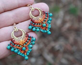 bollywood earrings, bellydance earrings, tribal earrings, turquoise earrings, yoga earrings, colorful earrings, artisan earrings, southwest