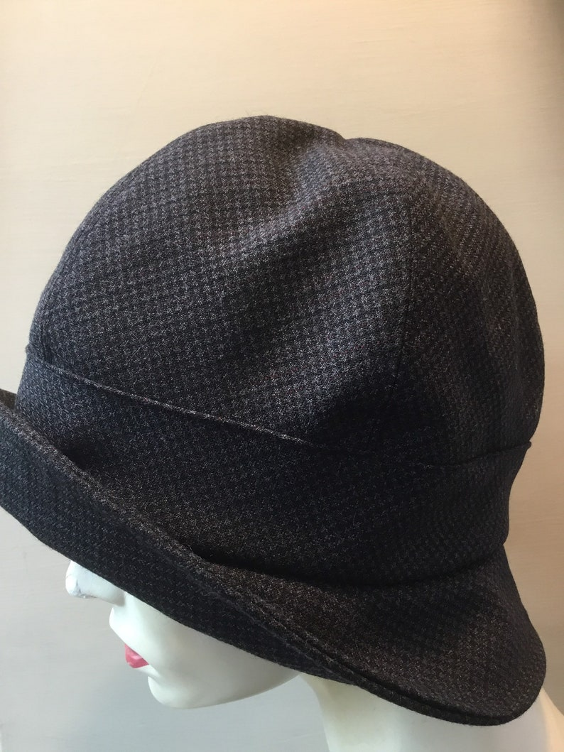 Dark navy cloche hat,classic cloche hat handmade in uk,Downton Abbey style,detachable button brooch,chic cloche,recycled fabric hat