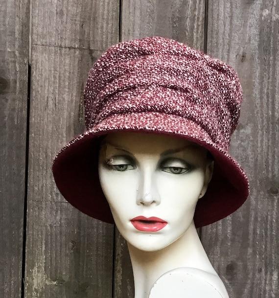 7f1f6a9f2 Burgundy wool hat, tweedy fabric hat, handmade hat, wool hat, hats for  women, designer hat, winter hats for women, red hats