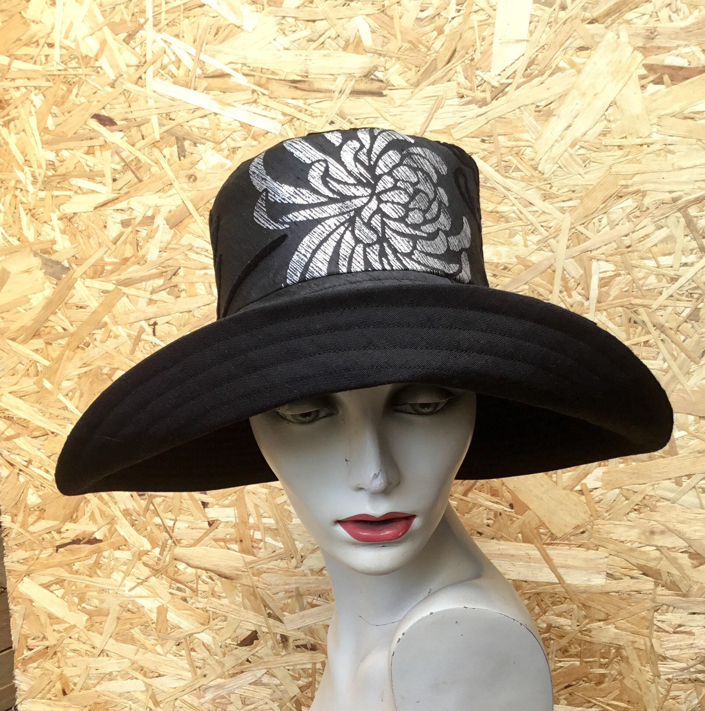 1b1dd4d15 Black wide brim sun hat reversible sunhat sun hats for | Etsy