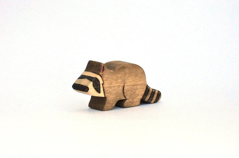 Raccoon Toy  Waldorf Toy  Handmade Wooden Toy image 0