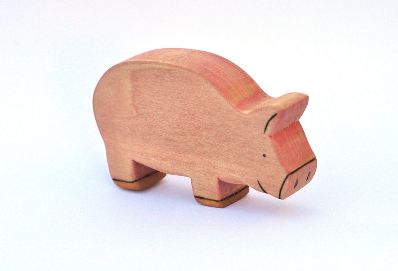 Pig Toy  Handmade Wooden Toy  Waldorf Toy image 0