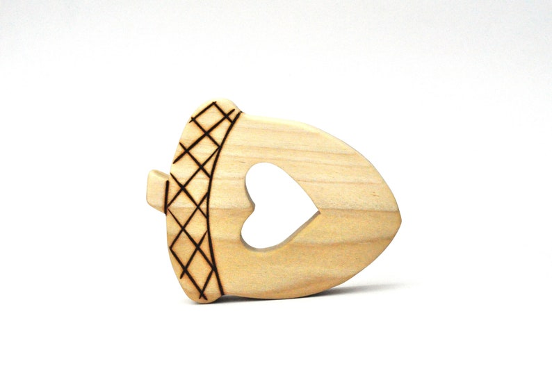 Acorn  Natural Wooden Teether  Teething Toy  Wooden Baby image 0