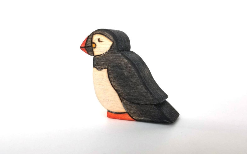 Puffin Toy  Handmade Wooden Bird Toy image 0