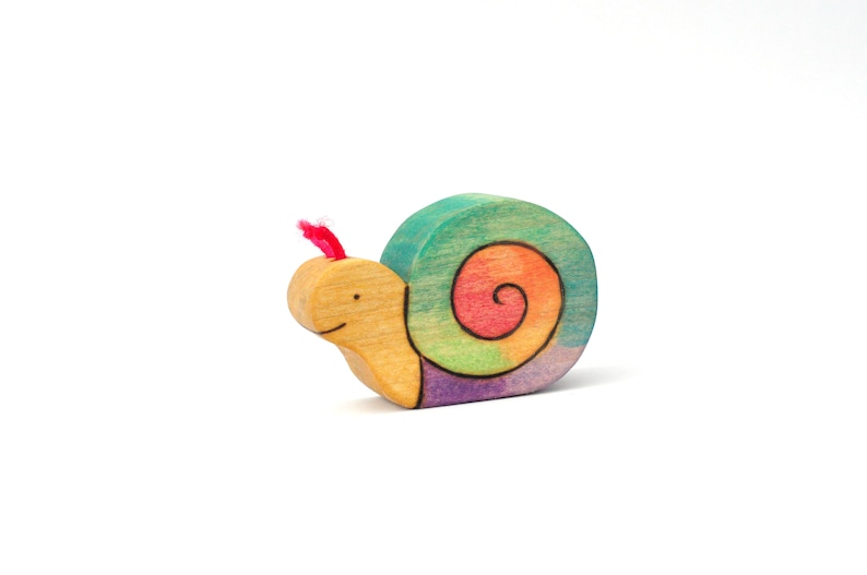 Rainbow Snail Toy  Nature Table Toy  Handmade Toy image 0