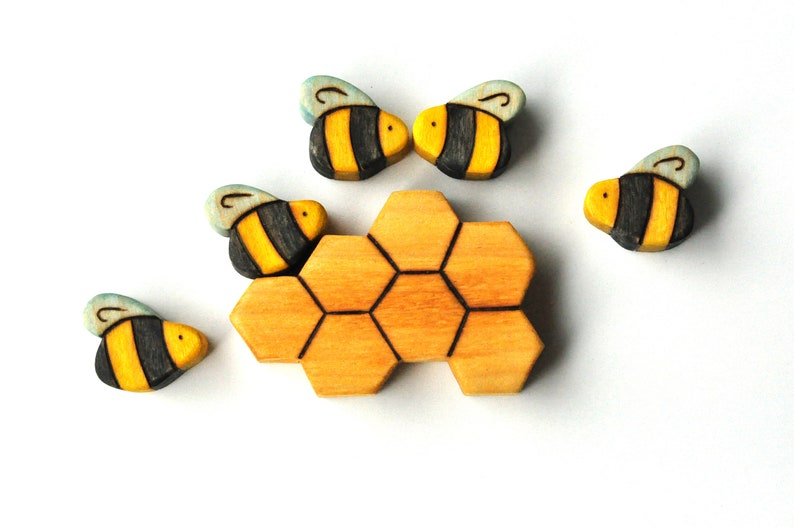 Bees and Honeycomb  Handmade Wooden Toy Play Set image 0