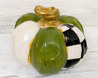 Resin Faux Pumpkin, Halloween, Fall, Medium Weight, Stripes, Black and White Check, Whimsical