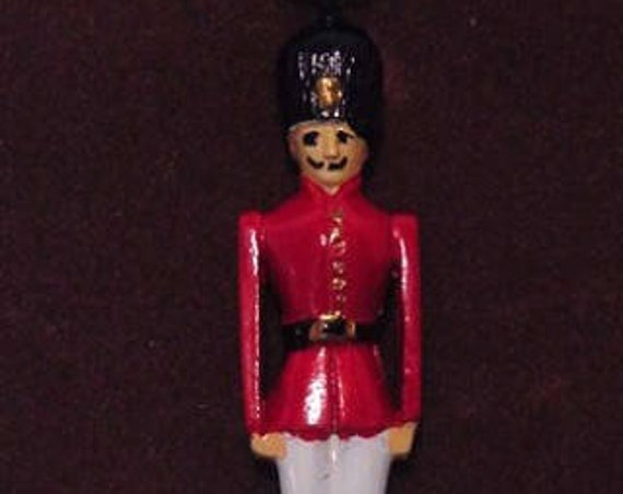 Hand Painted English Pewter Wooden Toy Soldier Pendant & Sterling Chain