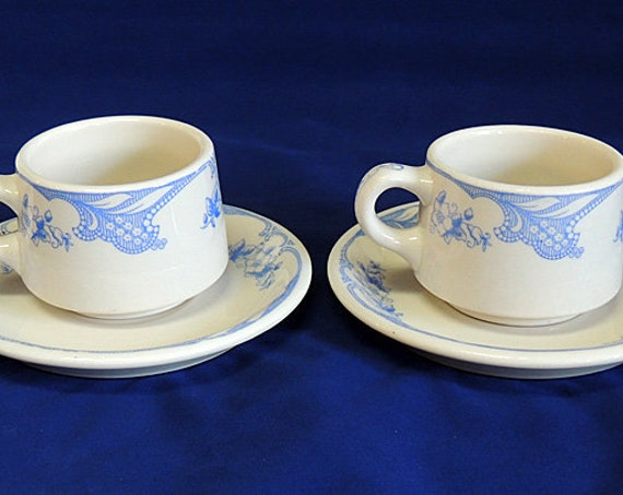 2 Vintage Shenango China Rose Point Blue Floral Restaurant Ware Cup and Saucer (#2)