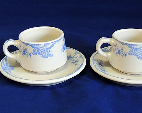 2 Vintage Shenango China Rose Point Blue Floral Restaurant Ware Cup and Saucer (#1)