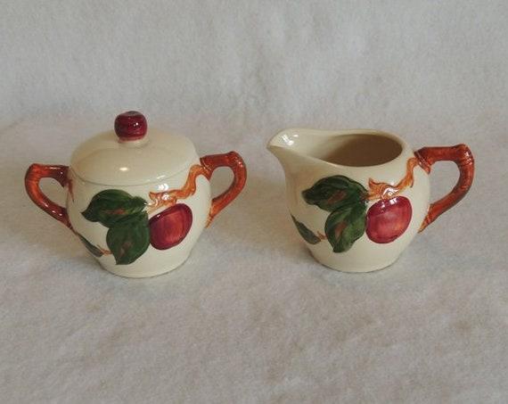 Franciscan Apple Creamer & Sugar W Lid Set.. Mid Century California Pottery