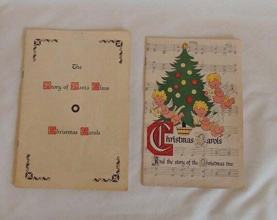 2 Vintage 1950s Christmas Carol Song Books.. Advertising Richfield Oil Dealer & Grolier Society