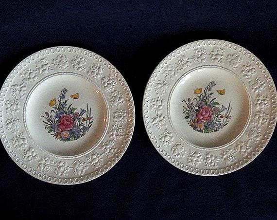 "2 Wedgwood Wellesley TINTERN 9.5"" Luncheon Plates.. Vintage England Pattern AL9460 (#2)"