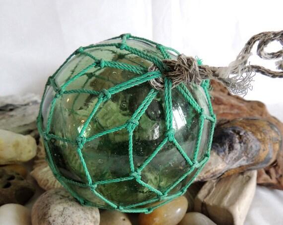 Vintage Japanese GLASS FISHING FLOAT Net, Emerald Green, Kanji Maker's Seal Mark (#64)
