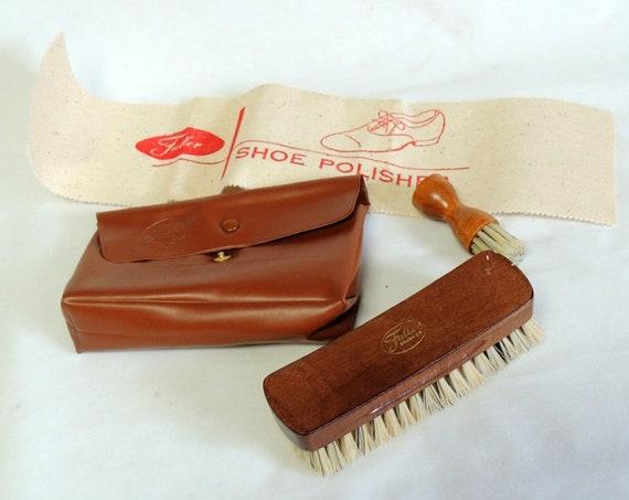 Vintage Fuller Brush Shoe Shine Polish Kit.. 2 Brushes, Polisher & Case