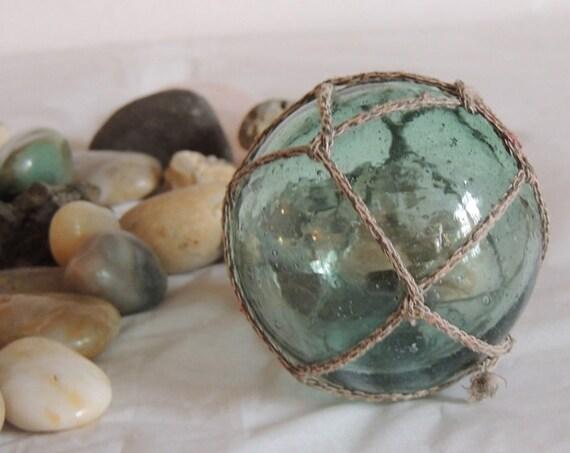 Vintage Japanese Glass FISHING FLOAT Teal Blue, Rare Mark & Full Net (#2)