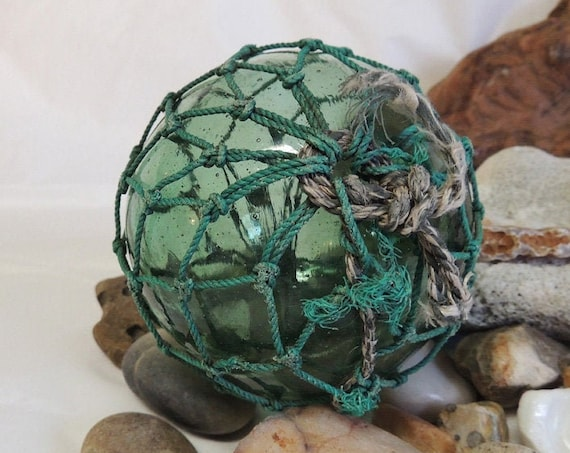 Vintage Japanese GLASS FISHING FLOAT. Makers Mark, Partial Net, Moss Green (#30)