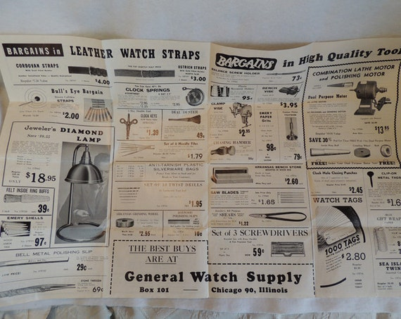 Vintage 1940's General Watch Supply Illustrated Catalog / Brochure / Poster