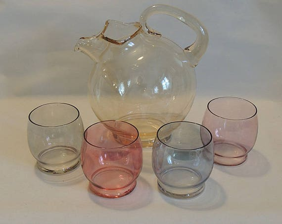 Vintage Mid Century 5 Pc Tinted Multicolor Glass Juice Set.. Pitcher & 4 Glasses