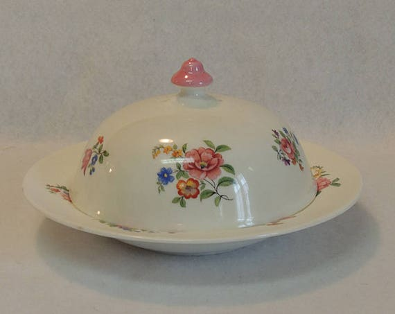 Aynsley 1930s Muffin Warmer Covered Butter Dish.. Vintage Cottage Floral
