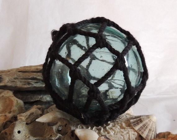 Vintage Japanese Glass FISHING FLOAT.. Full Black Net & Many Bubbles  (#36)
