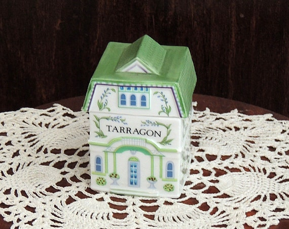 The Lenox Spice Village 1989 Porcelain Spice Jar TARRAGON With Original Box