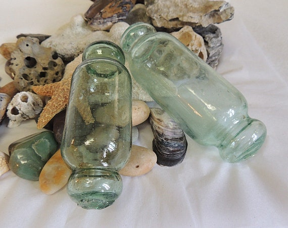 2 Unique Vintage Japanese Rolling Pin GLASS FISHING FLOATS.. 5 & 6 Inch Blue / Green (#73)