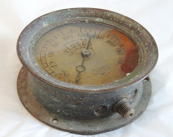 Vintage American Bourdon Pressure Gauge By American S.G. & V. Mfg Co.. STEAMPUNK