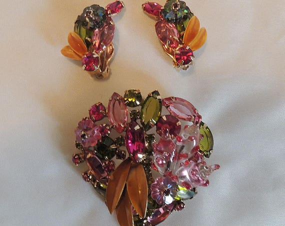 Vintage Delizza And Elster D & E Juliana Pink Green Watermelon Brooch And Earring Set.. Very Rare