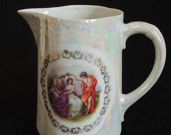 "Gorgeous Antique Porcelain Portrait 7.5"" Pitcher.. Pearl Luster & Romantic  Greek Scene"