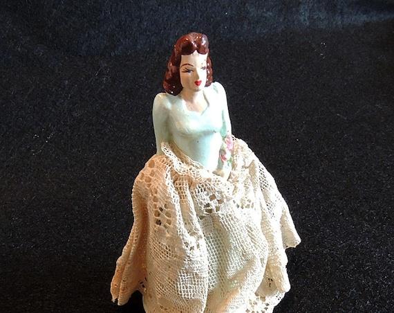 Vintage 1940's Chalkware Wedding Cake Topper Bride. Coast Novelty
