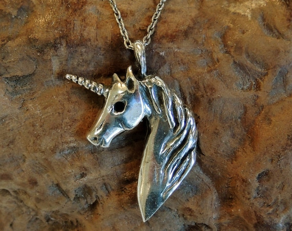 Vintage Sterling Silver Unicorn Pendant Necklace.. Italy