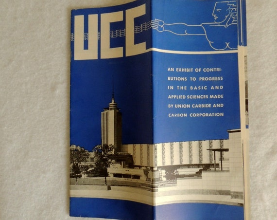 1930s UCC Union Carbide & Carbon Worlds Fair Art Deco Science Exhibit Brochure