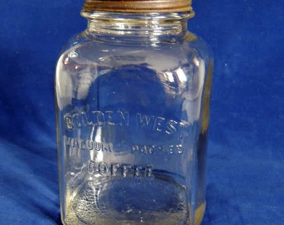 Vintage Golden West Coffee Glass Jar.. Embossed Name