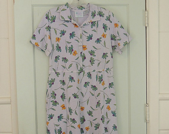Vintage Fresh Produce USA Cotton Dress Sz Sm-Med.. Floral Butterflies.. Polo Collar