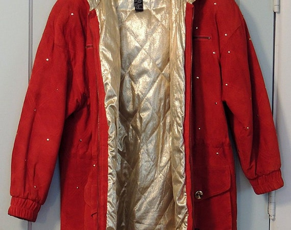 Vintage Suzelle Jacket Coat With Hood.. Red Suede Leather.  Gold Lame Lined