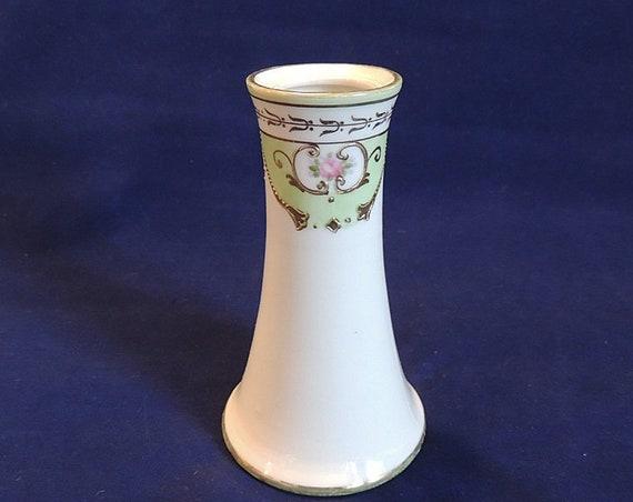 Vintage Hatpin Holder Hand Painted Nippon.. Gold Moriage Pink Rose