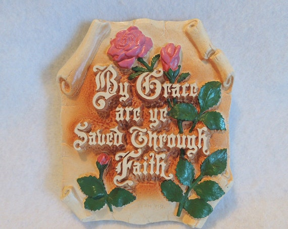Vintage 1939 Chalkware Bible Verse Wall Plaque.. Eph. 2:8.. H.A. Larsen