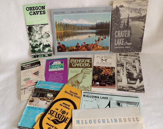 Vintage Oregon Travel Memorabilia.. Caves, Crater Lake, Forests Etc.. 12 Pieces