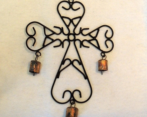 Vintage Handcrafted Iron Wind Chime.. CROSS With Bells