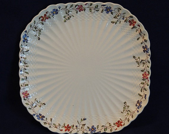 Vintage Copeland Spode Wicker Dale Square Luncheon Plate.. Old Mark