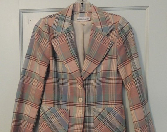 Vintage 1960s-70s BOBBIE BROOKS Blazer Jacket Sz 5.. Preppy Pastel Plaid